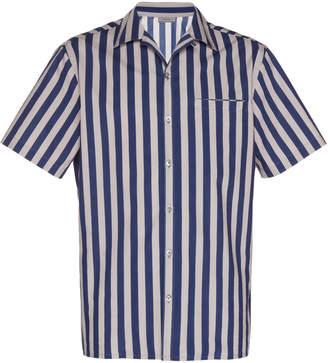 Lanvin Striped Camp Collar Cotton-Poplin Button-Up Shirt