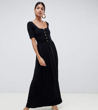 Asos Tall DESIGN Tall mixed fabric maxi dress with button front