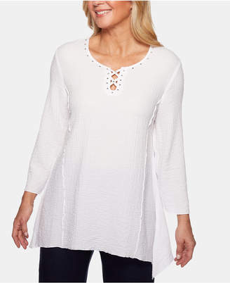Alfred Dunner Petite In The Navy Studded Lattice-Trim Top
