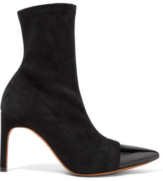 Graphic Patent Leather-trimmed Suede Sock Boots - Black