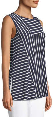 Neiman Marcus Stripe-Blocked Sleeveless Tee