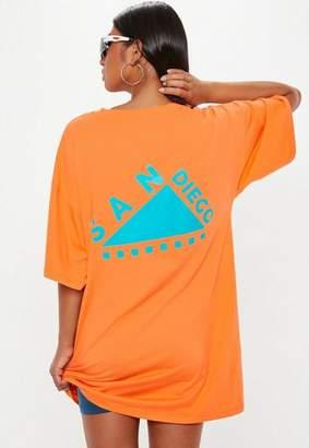 Missguided Orange San Diego Logo Oversized T Shirt