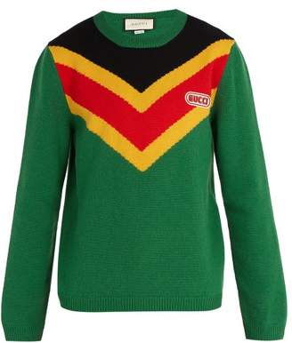 Gucci Chevron Intarsia Wool Sweater - Mens - Green