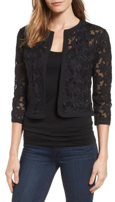 Women's Anne Klein Floral Embroidered Mesh Cardigan $79 thestylecure.com