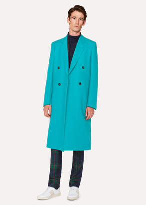 Paul Smith Men's Turquoise Double-Breasted Wool Overcoat