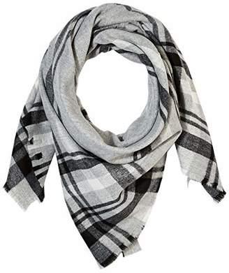 Women Grey White Shawl Wrap Winter Warm Acrylic Fringe Grid Checked Blanket Scarf