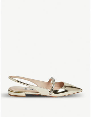 Miu Miu Crystal-embellished metallic-leather slingbacks