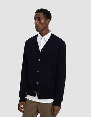 Comme des Garcons Small Black Heart Cardigan Sweater in Navy