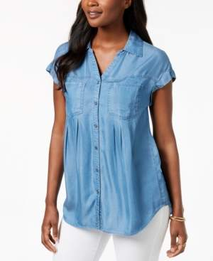 Style&Co. Style & Co Petite Pintucked Chambray Shirt, Created for Macy's