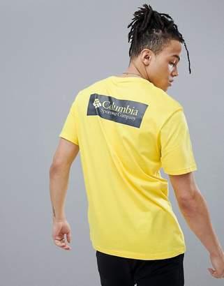 Columbia Back Logo Print T-Shirt In Yellow/Navy