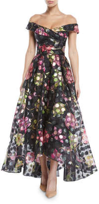 Marchesa Off-the-Shoulder Fil-Coupe Gown w/ Draped Bodice