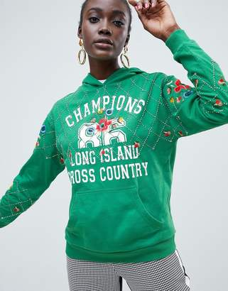Asos DESIGN hoodie with embroidery and embellishment