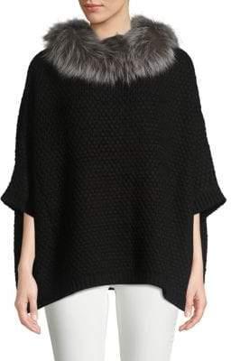 Adrienne Landau Knit Natural Fox Fur Collar Pullover