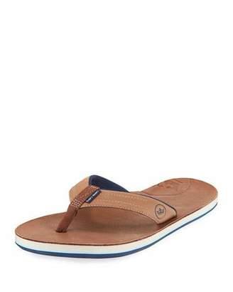 Peter Millar Hari Mari x Men's Leather Thong Sandals, Chocolate