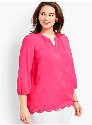 Talbots Plus Size Exclusive Eyelet Popover - Scalloped Shapes