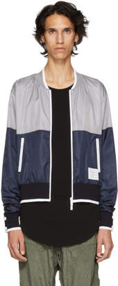 Thom Browne Grey and Navy Ripstop Bomber Jacket