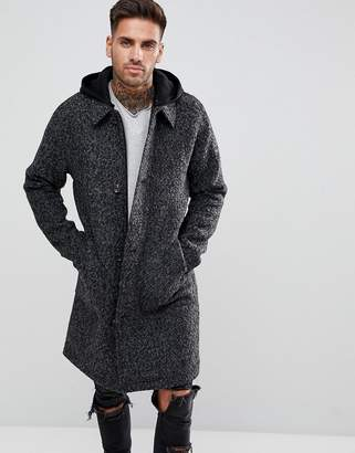 Asos Design Wool Mix Trench With Jersey Hood In Grey Texture