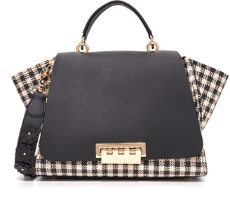 ZAC Zac Posen Eartha Gingham Straw Soft Top Handle Bag $495 thestylecure.com