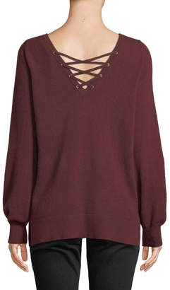 Christopher Fischer Cashmere Lace-Up V-Neck Sweater