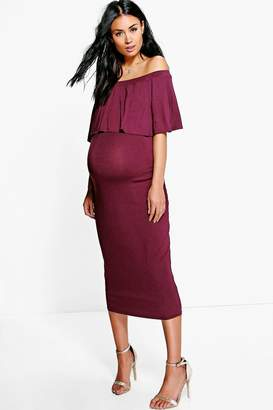 boohoo Maternity Off The Shoulder Midi Dress