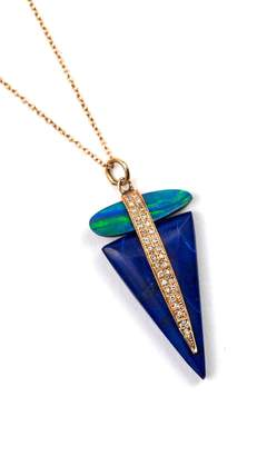 Jacquie Aiche Opal/lapis Triangle Necklace