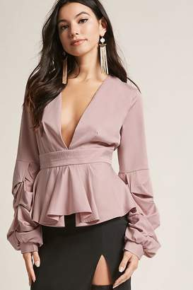 Forever 21 Plunging Pleated Top