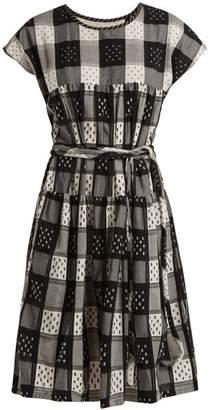 Ace&Jig Austin Tie Waist Checked Cotton Dress - Womens - Black White