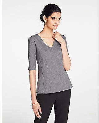 Ann Taylor Heathered V-Neck Knit Top