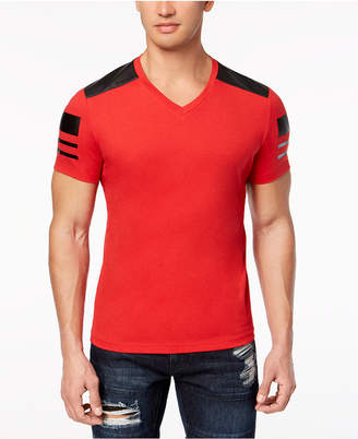 INC International Concepts I.n.c. Men's Faux-Leather Pieced T-Shirt, Created for Macy's