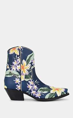 R 13 Women's Hawaiian-Printed Leather Cowboy Ankle Boots - Blue