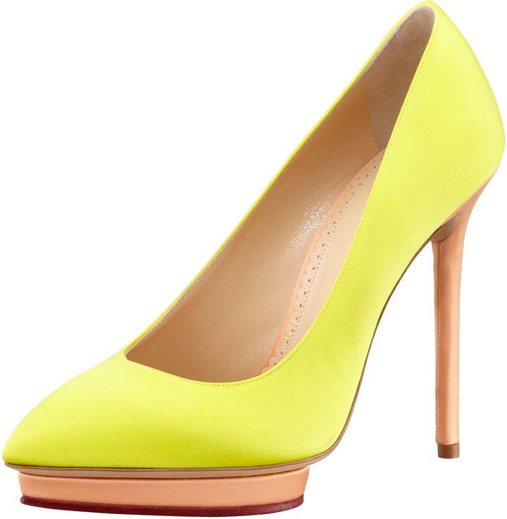 Charlotte Olympia Debonaire Heart-Platform Satin Pump, Yellow