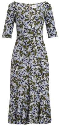 Erdem Glenys Floral Print Jersey Midi Dress - Womens - Blue Print