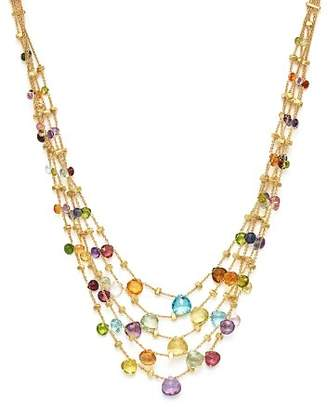 Marco Bicego 18K Yellow Gold Paradise Five Strand Mixed Stone Necklace, 16.5""