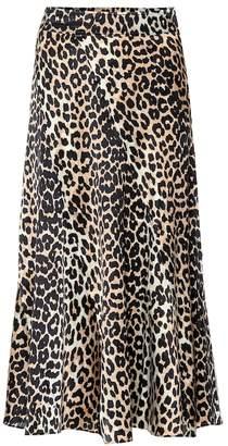 Ganni Leopard-printed silk midi skirt