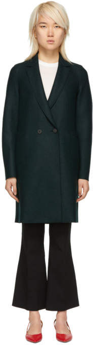 Green Wool Double-Breasted Coat