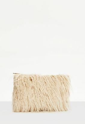 Missguided Cream Mongolian Faux Fur Clutch Bag, Cream