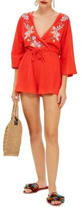 Topshop Embroidered Jersey Romper