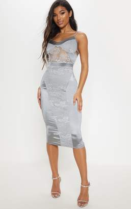 PrettyLittleThing Silver Lace Insert Satin Midi Dress
