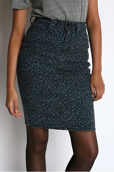 Silence & Noise Leopard Print Denim Pencil Skirt