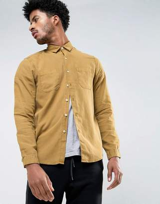 Asos Design Regular Fit Shirt In Mustard Bleach Washed Tencel