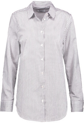 Equipment Essential Striped Cotton-Poplin Shirt $218 thestylecure.com