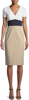 Diane von Furstenberg Colorblock V-Neck Tailored Dress