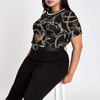River Island Womens Plus Black chain embellished neck T-shirt