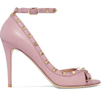 Valentino Garavani The Rockstud Textured-leather Sandals - Baby pink