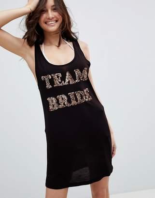 Asos DESIGN 'Team Bride' Sequin embellished jersey beach cover up