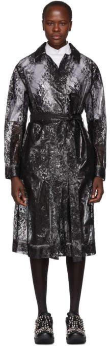 Black Plastic Lace Trench Coat