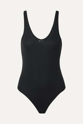 ATM Anthony Thomas Melillo Ribbed Stretch-micro Modal Thong Bodysuit - Black