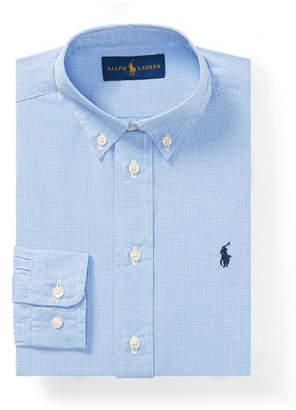 Ralph Lauren Poplin Check Collared Dress Shirt, Blue, Size 4-7