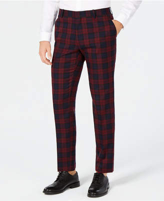 INC International Concepts I.n.c. Men's Slim-Fit Stretch Tartan Suit Pants, Created for Macy's