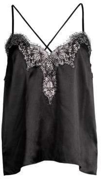 CAMI NYC Gisele Silk Metallic Lace Camisole